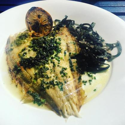Pan roasted plaice with sea spaghetti and lemon& herb butter @The Waterside, Imperial Wharf